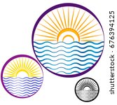 abstract design of sun and sea... | Shutterstock .eps vector #676394125