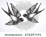 Stock vector beautiful vintage retro style illustration of two flying swallow birds hand drawn vector artwork 676397191