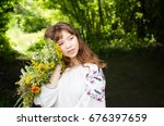 pretty young woman in... | Shutterstock . vector #676397659