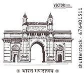 mumbai  india gate. poster... | Shutterstock .eps vector #676401511