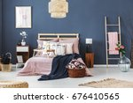 cozy fully furnished bedroom... | Shutterstock . vector #676410565
