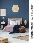 dark blue blanket thrown on the ... | Shutterstock . vector #676410589
