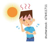 men with heat stroke. | Shutterstock .eps vector #676411711
