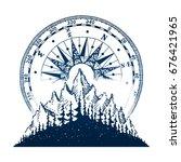 mountain vintage emblem.... | Shutterstock .eps vector #676421965
