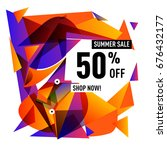 summer sale geometric style web ... | Shutterstock .eps vector #676432177
