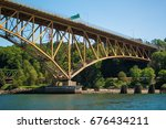 iron worker's memorial bridge... | Shutterstock . vector #676434211