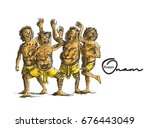 puli kali  tiger dance for onam ... | Shutterstock .eps vector #676443049