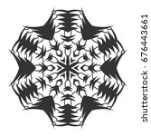 black silhouette of a snowflake.... | Shutterstock .eps vector #676443661
