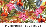 tropical seamless pattern with... | Shutterstock .eps vector #676445785