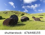 Small photo of Magical Power | Pukao moai statue topknots in Puna Pau, Easter Island, Chile.