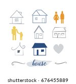 hand drawn houses set. house... | Shutterstock .eps vector #676455889