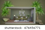 interior living room. 3d... | Shutterstock . vector #676456771