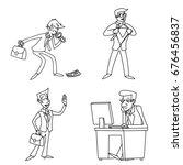 lineart vintage businessman... | Shutterstock .eps vector #676456837