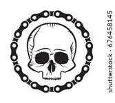 skull motorcycle club badge... | Shutterstock .eps vector #676458145