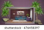 interior living room. 3d... | Shutterstock . vector #676458397