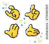 vector flat line emoji icons... | Shutterstock .eps vector #676460365