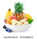 isolated fruits. pile of... | Shutterstock . vector #676468621