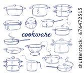 Doodle Set Of Kitchen Cook War...