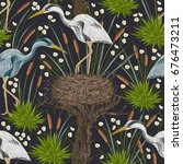 seamless pattern with heron... | Shutterstock .eps vector #676473211
