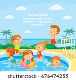 kids in swimming pool swimming... | Shutterstock .eps vector #676474255