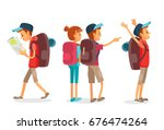 vector set of a man hiking with ... | Shutterstock .eps vector #676474264