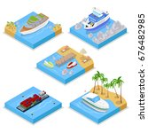 isometric water transportation... | Shutterstock .eps vector #676482985