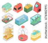isometric pet carriers with... | Shutterstock .eps vector #676482991