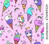 vector illustration of cute ice ... | Shutterstock .eps vector #676489324