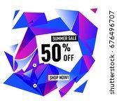 summer sale geometric style web ... | Shutterstock .eps vector #676496707