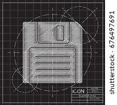 vector blueprint retro floppy... | Shutterstock .eps vector #676497691
