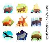 colorful polygonal emblem of... | Shutterstock .eps vector #676499851
