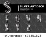 vector art deco font. shining... | Shutterstock .eps vector #676501825
