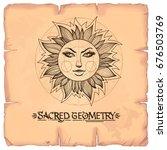sun. vintage stylized outline... | Shutterstock .eps vector #676503769