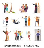 selfie and people icons set... | Shutterstock .eps vector #676506757