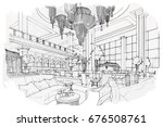 sketch perspective interior.... | Shutterstock .eps vector #676508761
