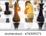 business conceptual chess on... | Shutterstock . vector #676509271