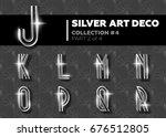 vector art deco font. shining... | Shutterstock .eps vector #676512805