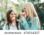 young happy women is having fun ... | Shutterstock . vector #676516327