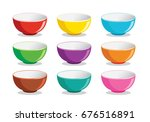 the colorful of bowl | Shutterstock .eps vector #676516891