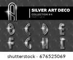 vector art deco font. shining... | Shutterstock .eps vector #676525069