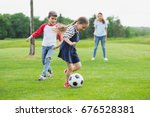 adorable cheerful children... | Shutterstock . vector #676528381