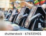 row of order desks with... | Shutterstock . vector #676535401