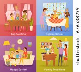 family easter traditions 4 flat ... | Shutterstock .eps vector #676538299