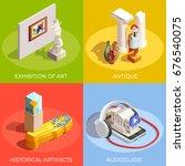 museum isometric design concept ... | Shutterstock .eps vector #676540075