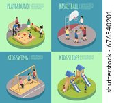 children playground isometric... | Shutterstock .eps vector #676540201