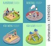 children playground isometric... | Shutterstock .eps vector #676540201