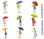 people with umbrellas. smiling... | Shutterstock .eps vector #676540375