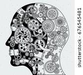 human head with clock mechanism ...   Shutterstock .eps vector #676545481