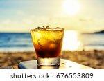the frozen glass of mojito... | Shutterstock . vector #676553809