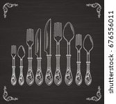 vector pictures of spoon  fork... | Shutterstock .eps vector #676556011
